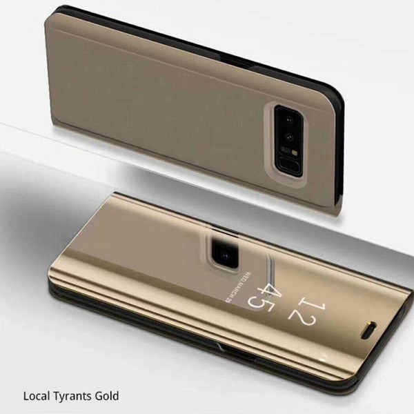 Holder Phone Case Electroplate Clear Smart Kickstand Mirror View Flip Cover Sleep wake For iphone 6 7 8 X samsung galaxy s7 S8 S8 hot