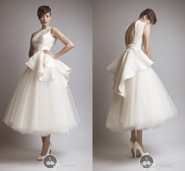 Krikor Jabotian New Vintage Backless Tea Length Wedding Dresses Peplum Lace Tulle Sheer Beach Party Evening Gowns 2015 Hot Bridal Gowns 2016