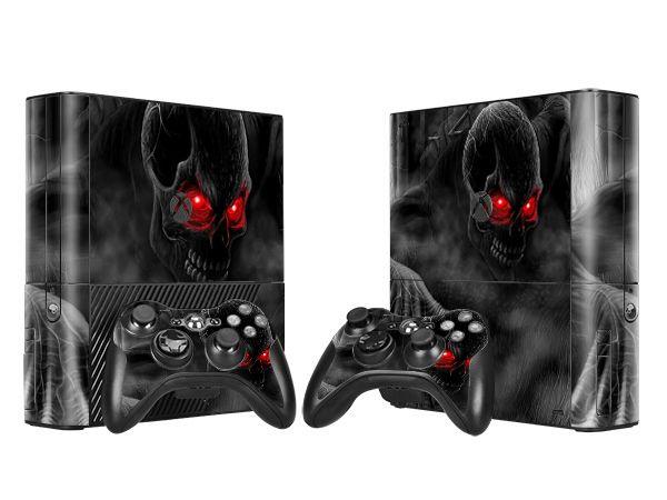 Cool Dark Skull Skin Sticker Protector Vinyl Decals for Xbox 360 E Protective Console Skin+2 Pcs Controller Cover Skin Sticker