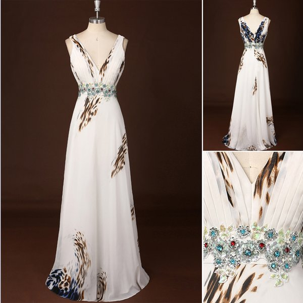 Sleeveless 2015 A Line Evening Dresses With V Neck Spaghetti Strap Floor Length Chiffon Pattern Backless Long Evening Gowns