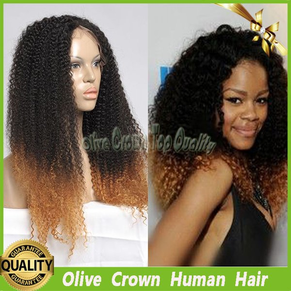 Kinky Curly Ombre Front Lace Wigs Brazilian Virgin Human Hair Full Lace Wig Two Tone Afro Kinky Curl Gluless Lace Wig