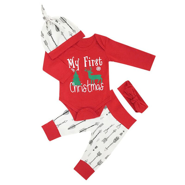 Christmas Arrow.2019 Christmas Baby Boys Girls Clothing Sets Elk Romper Arrow Pant Hat Red Headband Xmas Long Sleeve Printed Suits Kids Cartoon Clothes Sets From
