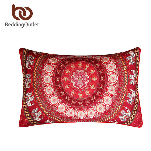 Wholesale- Beddingoutlet Red Pillow Case Indian Elephant Messenger Copertura del cuscino Tessili per la casa 2 formati in microfibra morbida federa 1 pz caldo
