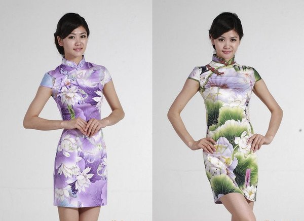 Shanghai Story high quality qipao Chinese tranditional qipao traditional chinese style dress cheongsam lotus printed qipao dress 2 color