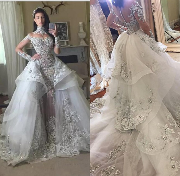 Luxury Crystal Wedding Dresses 2018 With Detachable Skirt High Neck Long Sleeves Beaded Applique Court Train Bridal Gowns