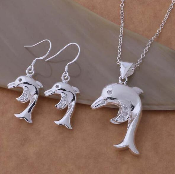 Fashion charm pendant Snake chain Han edition dolphins 925 silver Earring & necklace jewelry sets 10set/lot