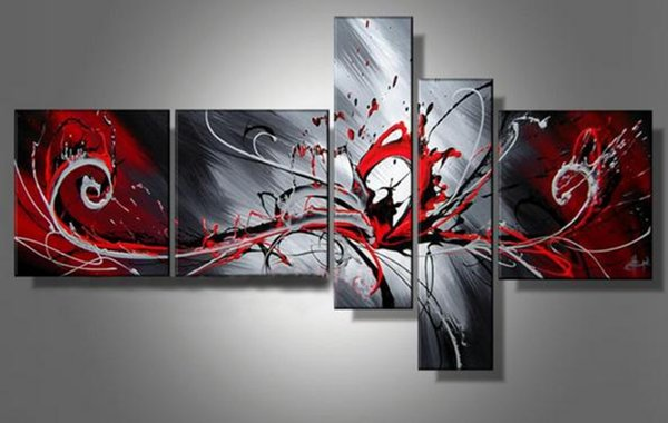 5 Panels Handpainted Abstract Red Black Grey Line Oil Painting on Canvas Mural Art Drawing for Home Living Hotel Office Wall Decor