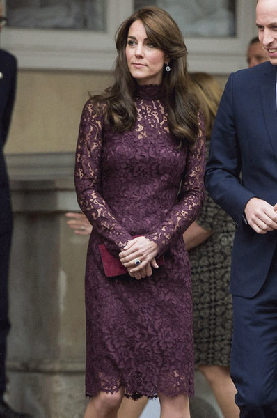 Lace Princess Sheath Dress Elegant Long Sleeve Kate Middleton Dresses WF011E