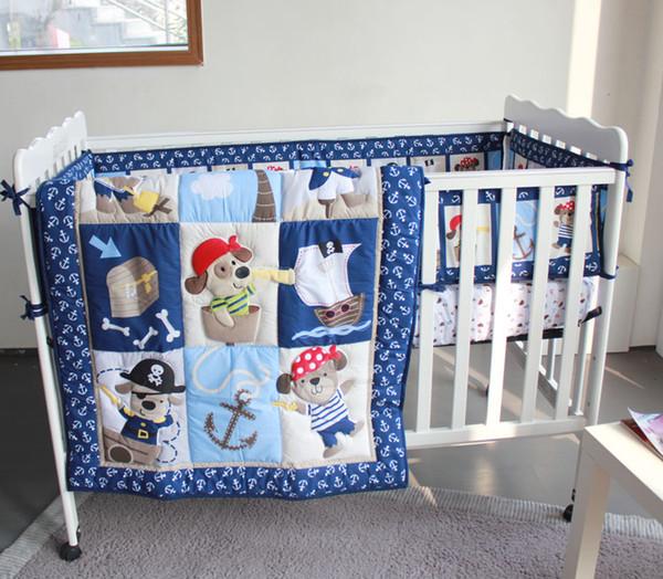 ropa de cama para nios infantiles d piratas del caribe juego de cama de beb de bordado de patrn incluyen colchn colchn colchn falda colcha de colchn