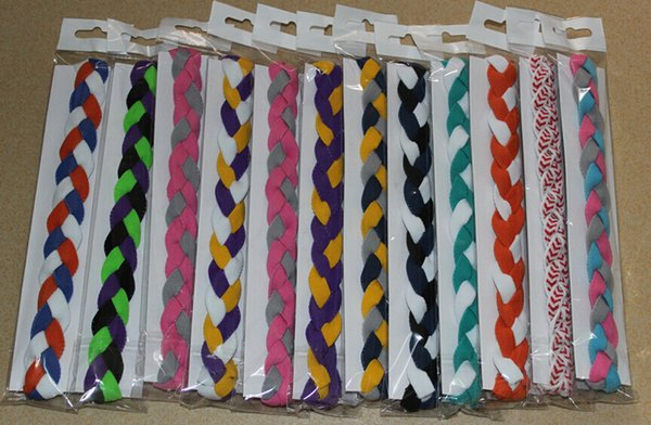100pcs 3 strands Braided mini headband for Yoga run dance workout cheerleader school colors Hair band