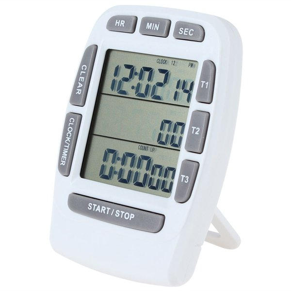 3-Line LCD Triple Display Digital Kitchen Timer Alarm Countdown Stopwatch + Clock for Kitchen Cooking Tools