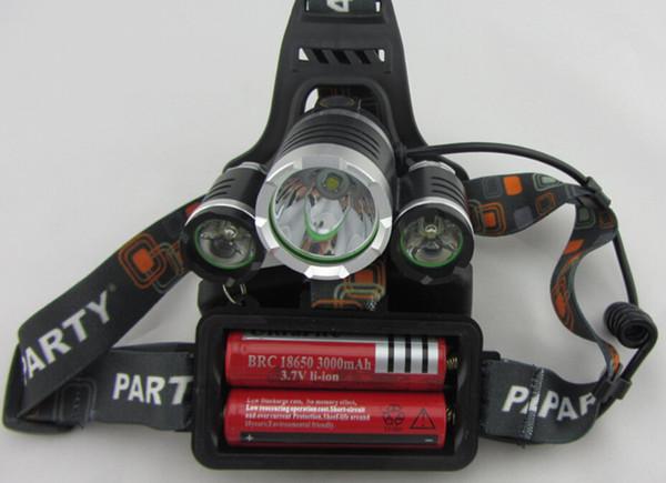 Boruit 3x XM-L T6 LED 6000 Lm Headlight Lampe Frontale Head Torch HeadLamps Lanterna+Ac/Car Charger& 3.7V 4000mAh 18650 Battery