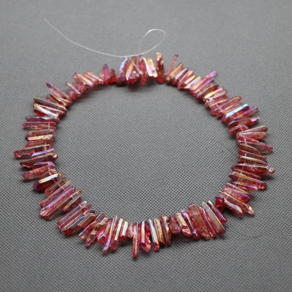 76pc / 1Strand roher dunkler rosa Kristallquarz-Felsen-Kristallanhänger, natürliche Freeform spitzt Punkte gebohrte Briolettes, 15.5 Zoll-Frauen-Halskette