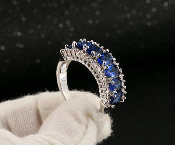 MENS 14K GOLD BLUE SAPPHIRE LAD DIAMOND RING WEDDING BAND PRINCESS