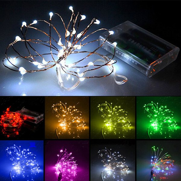 2M 20 LED Battery Mini LED Copper Wire String Light AA Battery Operated Fairy Party Wedding Christmas Decoration Lights Flashing LED Strips