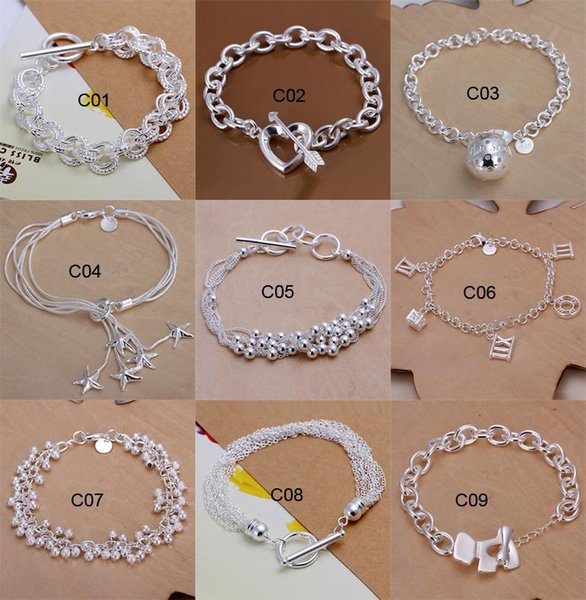 Fashion 10 Styles Mixed 925 Silver Bracelet Pretty Heart Starfish Charms Bangle for women Girl Gift Jewelry