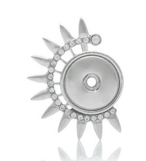 Özel diy snap düğmesi ayçiçeği rodyum kaplama kolye kolye ile rhinestone diy noosa snap düğmesi kolye jelwery accessoriess