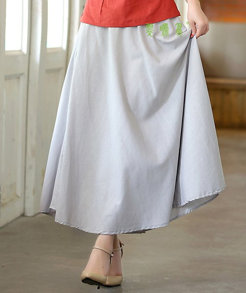 Envío gratis nueva falda de algodón de lino de las mujeres de estilo chino una línea de tobillo cintura elástica suelta más tamaño gris faldas IC305