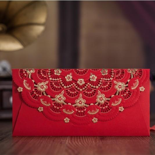 Gold Red Laser Cut Flower Wedding Invitation Envelope, Envelopes for Bridal, Money Envelope Bag Party Envelope 30pc