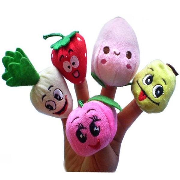 1000 PCS / Lot DHL Fedex Velours Fruits Légumes Marionnettes À Doigts Enfants Jouets Pour Enfants doigt Marionnettes Poupées Contes Histoire / Outils