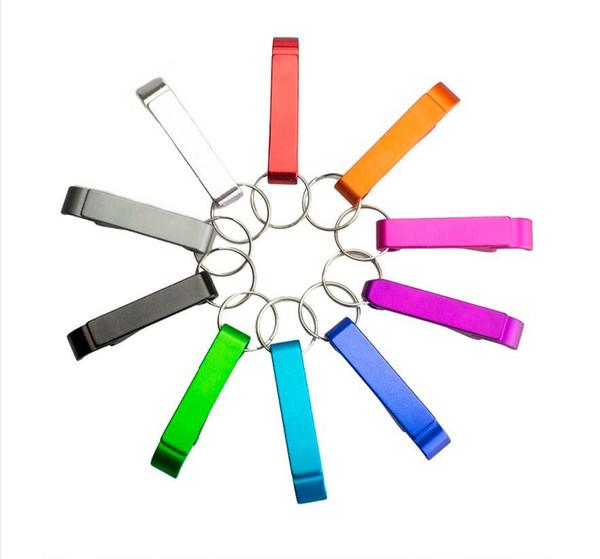 6*1cm 1PCS Mini Aluminum Alloy Portable Can Opener Good Beer Bottle Opener Wine Opener Keychain Random Color Kitchen Gadgets