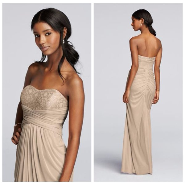 Sweetheart Empire Waist Lace Top Long Bridesmaid Dresses Pleated ...