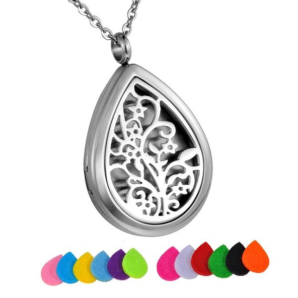 Wholesale tree life stainless steel water drop perfume locket wholesale tree life stainless steel water drop perfume locket essential oil diffuser necklace aromatherapy pendant aloadofball Image collections
