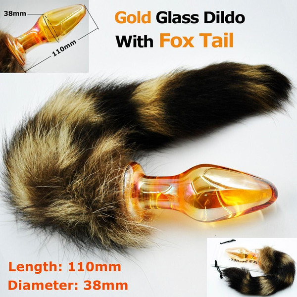 151204 Gold crystal butt plug pyrex glass Anal dildo with to fox cat tail Adult costume game sex toy product for women men masturbation