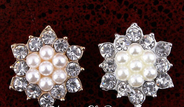 5%off (100pcs/lot)17MM FACTORY PRICE Artificial Sparkly Snow Shape Alloy Rhinestone Pearl Buttons For Wedding/Phone/Hair Accessories