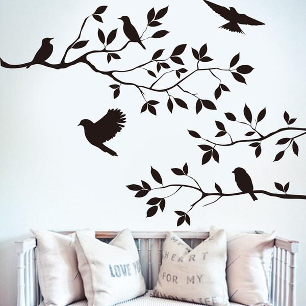 Vente chaude Oiseaux Flying Black Tree Branches Wall Sticker Vinyle Art Decal Mural Home Decor Livraison gratuite