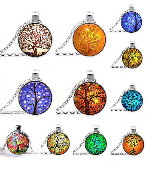 10%off Tree of Life Necklace Pendant glass art and the thought of the tree Silver Family Christmas Style Charm Jewellery Gift 30pcs/lot