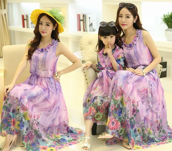 best selling Newest Family Dress Lavender Floral Bohemia Maxi Dress Mother and Daughter Matching Clothes Fashion Beach Long Dresses
