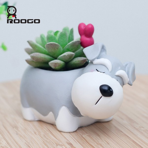 Roogo Decorative Schnauzer Dog Pot Animal Shape Resin Flowerpot Garden Decor Pots Succulent Plants Holder Gift Ideas For Him