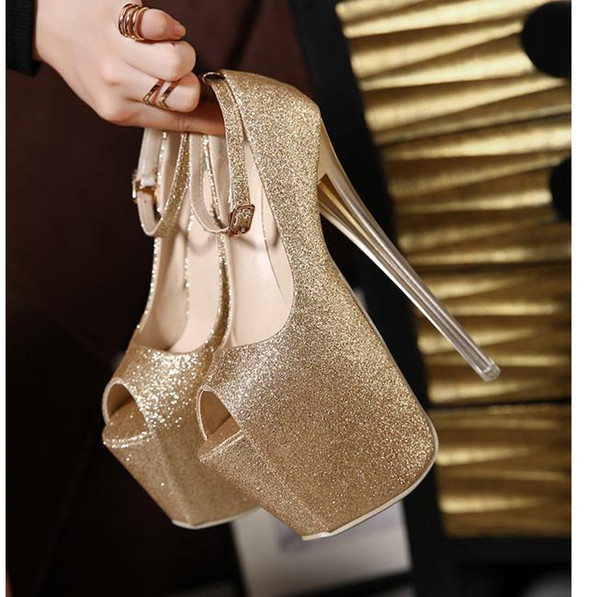 Luxury glitter sequined 19CM sexy ankle strap platform ultra high heel shoes gold silver black size 35 to 40