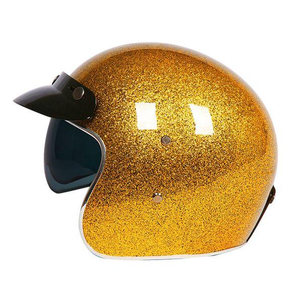 VCOROS fiber glass Vintage Motorcycle helmet with inner Sun visor Open face moto Helmets Retro Jet motorbike Helmet ECE approved