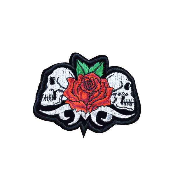 1 PCS Twins Skull with Rose Embroidery Patches for Clothing Iron on Transfer Applique Patch for Garment Jackets DIY Sew on Embroidery Badge