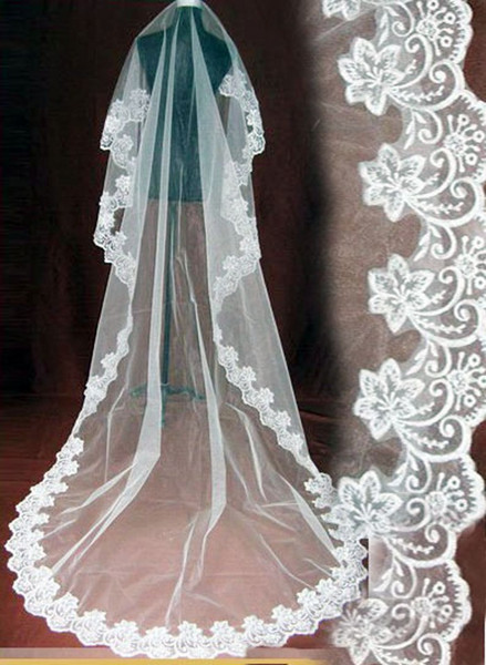 Veu Para Noiva 2019 Long Wedding Veil Exquisite Cheap Bridal Veil One Layer Lace Edge Cathedral Length Beads Bridal Veil Wedding Accessories