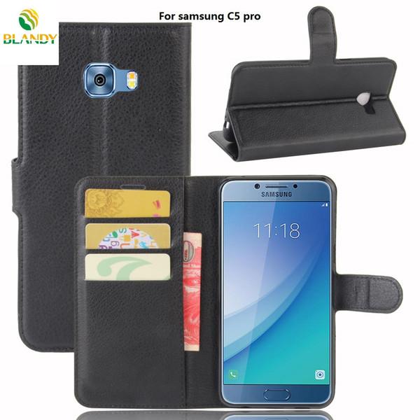 Per Samsung A5 A7 2018 A530F A730F Litchi Lychee Portafoglio Cuoio DELL'UNITÀ di elaborazione della copertura del basamento della copertura di TPU per samsung C5 pro J7 più C10 Xcover 4