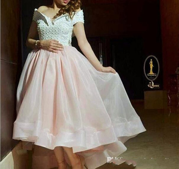 Off The Shoulder Short Prom Dresses Puffy Organza Skirt Pearls Hi-lo Formal Evening Gowns Arabic Islamic Muslim Pakistani Party Dresses