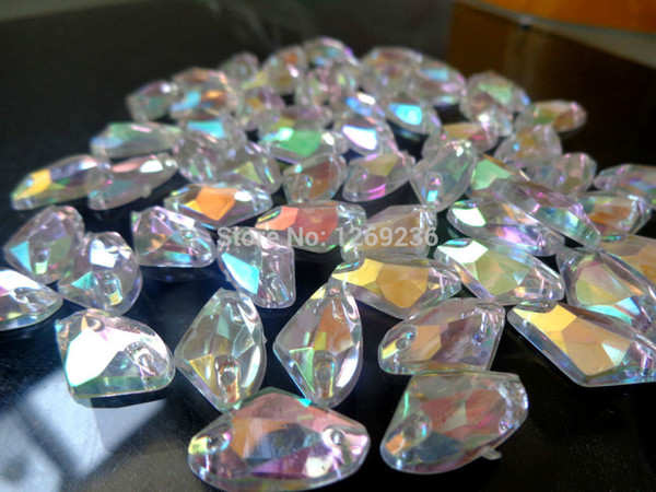 Wholesale-150pcs 12*19mm Galactic shape Sew on Acrylic Crystal ABcolour Rhinestones For Hand Sewing Stones Strass Diamond m95