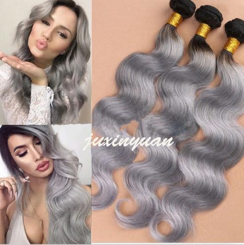 HOT Ombre har Brazilian extensions 100g/Bundle 6A Brazilian body wave hair Weft T1B# / Grey Human best Hair Extensions Weave 3pcs /lot