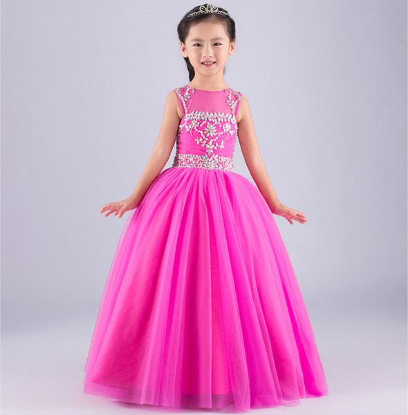 Wedding Party Jewel Neck Beaded Long Flower Girl Dresses Pleated Tulle Ruffled Floor Length Ball Gown Lace up Little Girl Birthday Dress