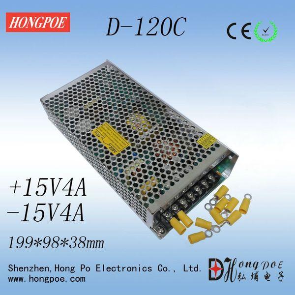 best selling Free shipping dual power + 15V -15V power supply D-120C DC dual output power supply + 15V4A -15V4A 110-230V