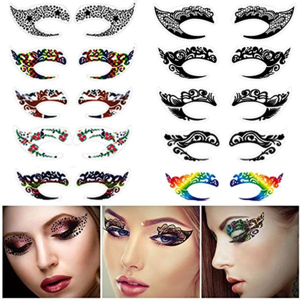 Yeni Özel Parti Makyaj Göz Yüz Dövme Su Geçirmez Tek Kullanımlık Göz Farı Sticker Rock Tarzı Parti Makyaj Kızlar