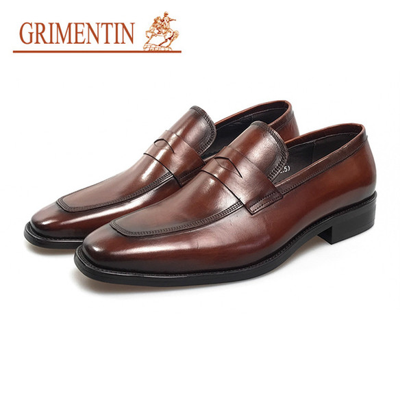 GRIMENTIN luxury brand Italian designer mens dress shoes fashion high quality leather men oxfords formal business wedding male shoes YJ17
