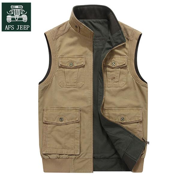 Afs jeep 2017 homens jaqueta clothing tático colete masculino multi-bolso duplo-side wear casual colete de algodão gilet homme plus size chaleco hombre