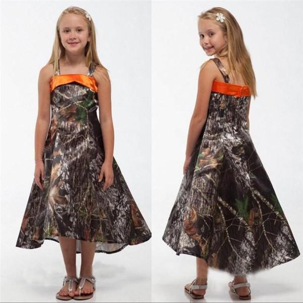 2019 nouveau camo robes de demoiselle d'honneur noce fleurs une sangle spaghetti une ligne salut-Lo thé longueur robes de demoiselle d'honneur junior filles robes pageant