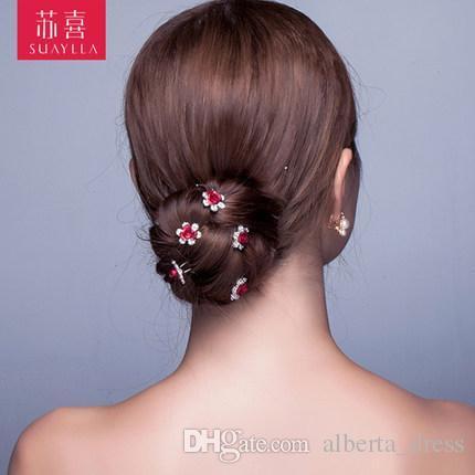 2017 Wedding Accessories Bridal Rose Pearl Hairpins Flower Crystal Pearl Rhinestone Hair Pins Clips Bridesmaid Women Hair Jewelry