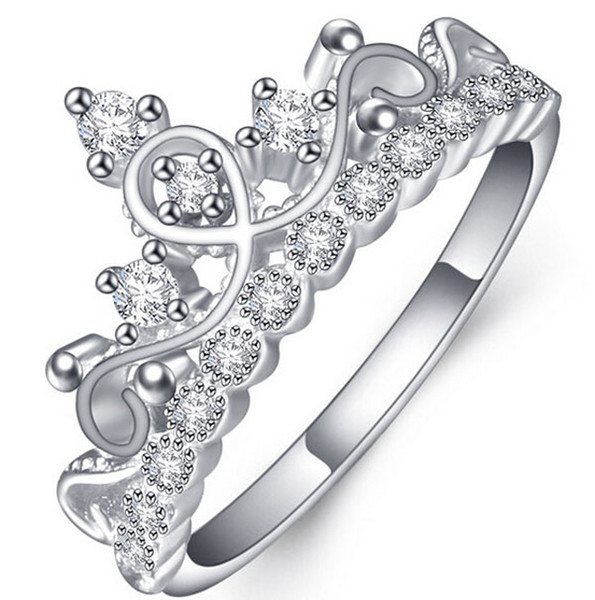 top popular PURE!925 Sterling Silver Luxury 18K Solid White Gold plated Austrian Crystal Zircon Gemstone Rings Engagement Wedding Princess Crown Rings 2019