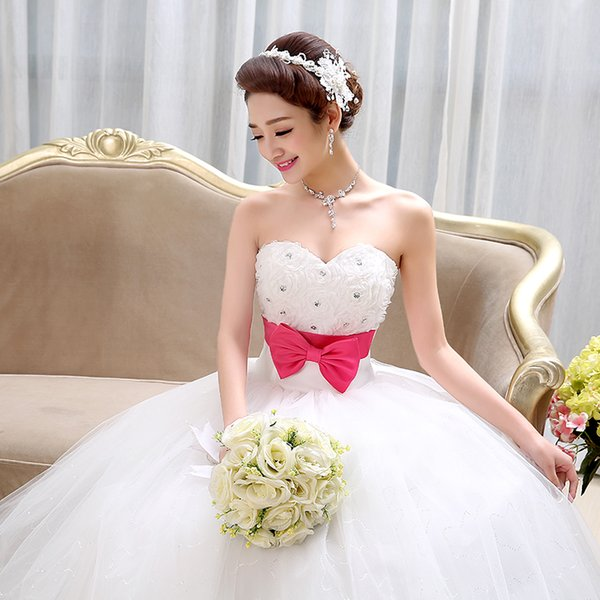 CCT31 Sexy Romantic Fashionable Plus Size Off White Rose Bow Flower Wedding Dress 2015 Bridal